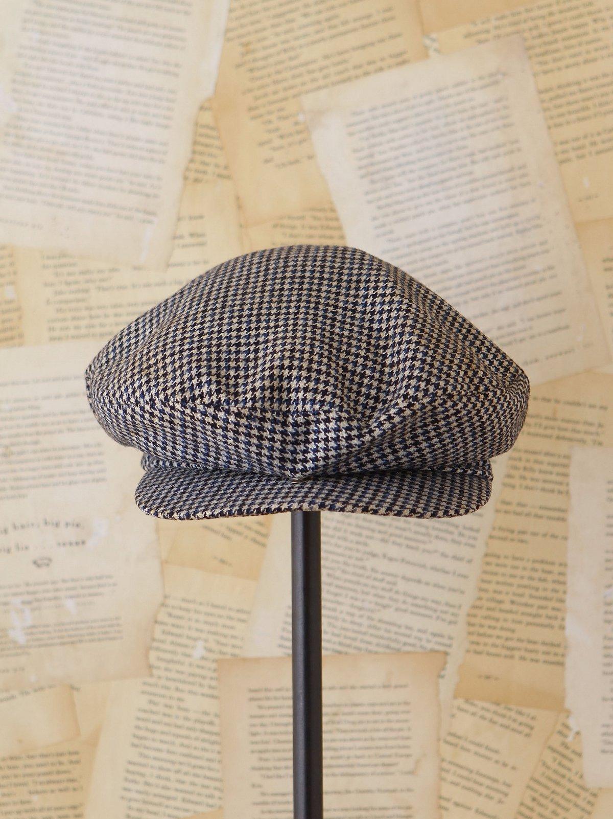 Vintage Wool Houndstooth Driving Cap