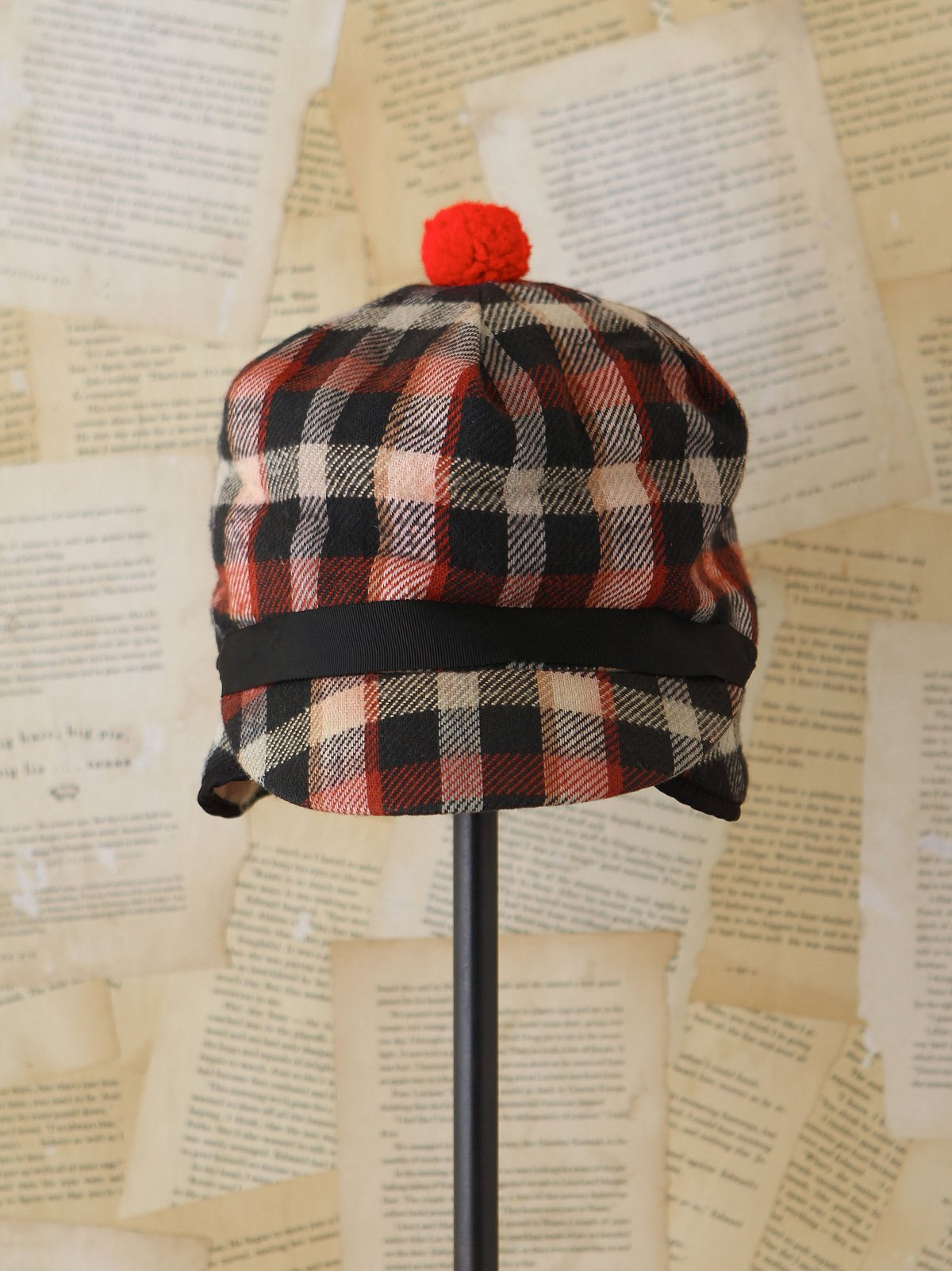 Vintage Plaid Cap with Pom Pom