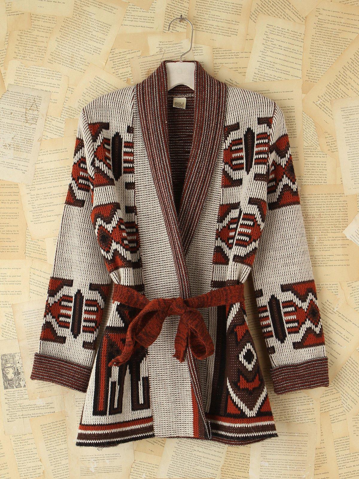 Vintage Patterned Tie Cardigan