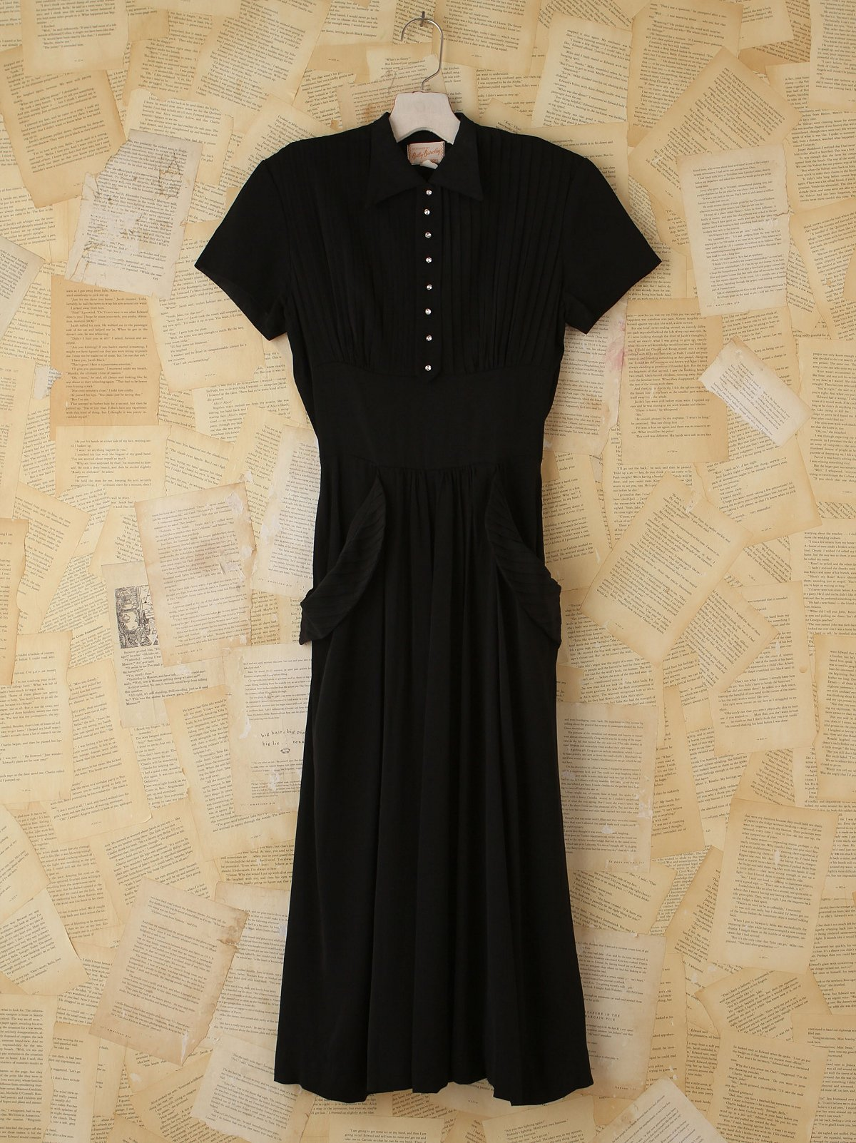 Vintage Pleated Button Front Dress