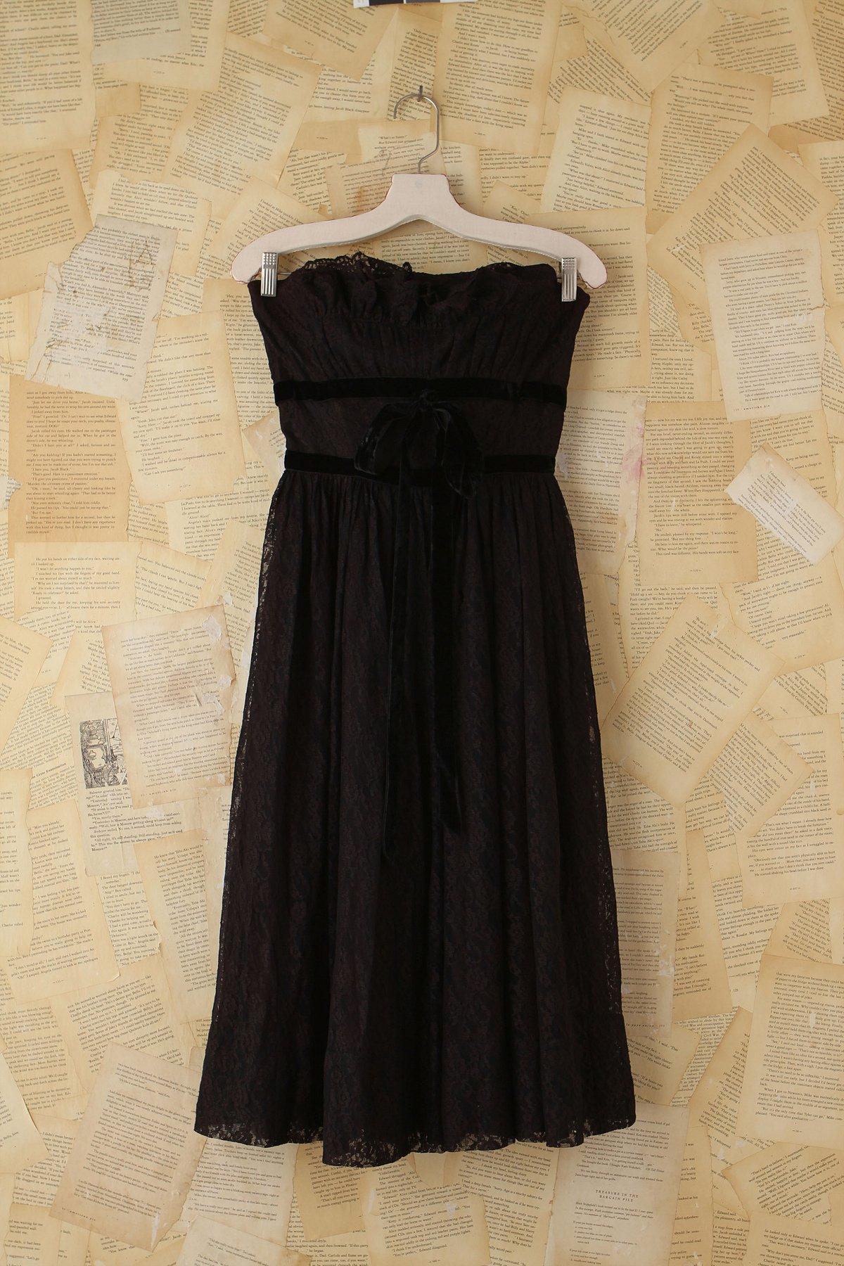 Vintage Black Lace Party Dress
