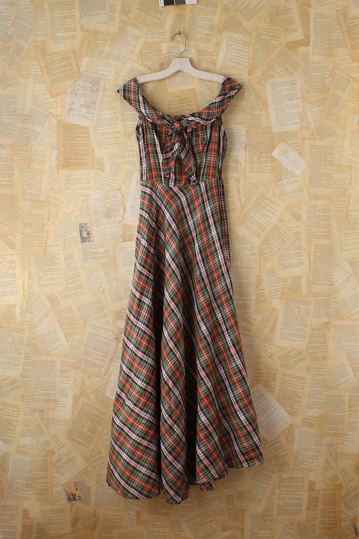 Vintage Plaid Taffeta Dress