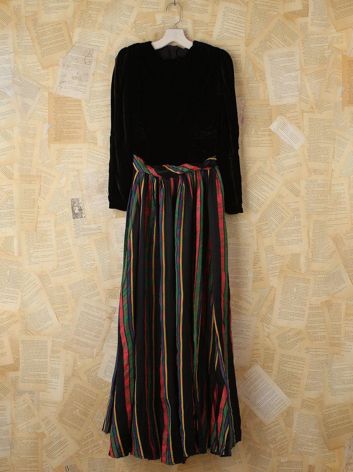 Vintage Velvet and Stripes Maxi Dress