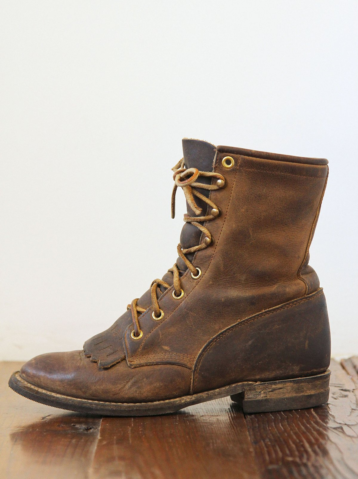 Vintage Brown Leather Lace-Up Boots