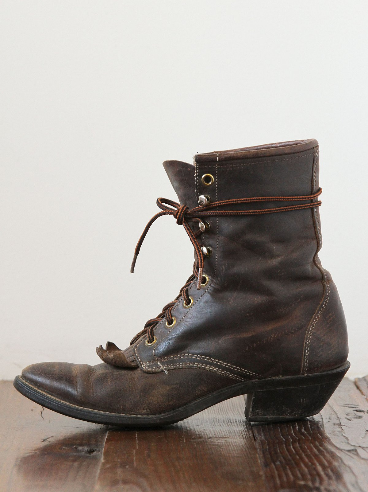Vintage Leather Lace-Up Boots