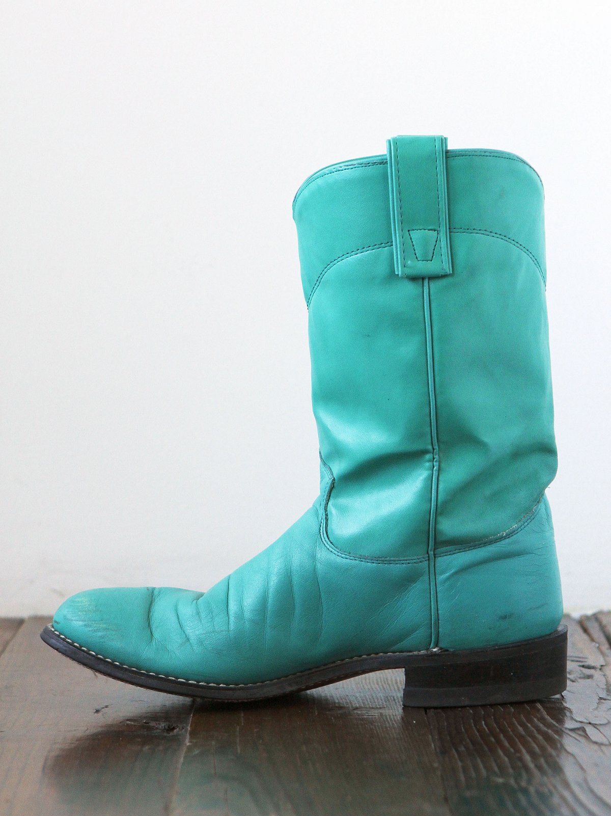 Vintage Turquoise Leather Western Boots