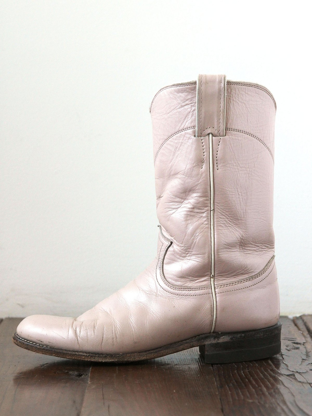 Vintage Pink Leather Western Boots