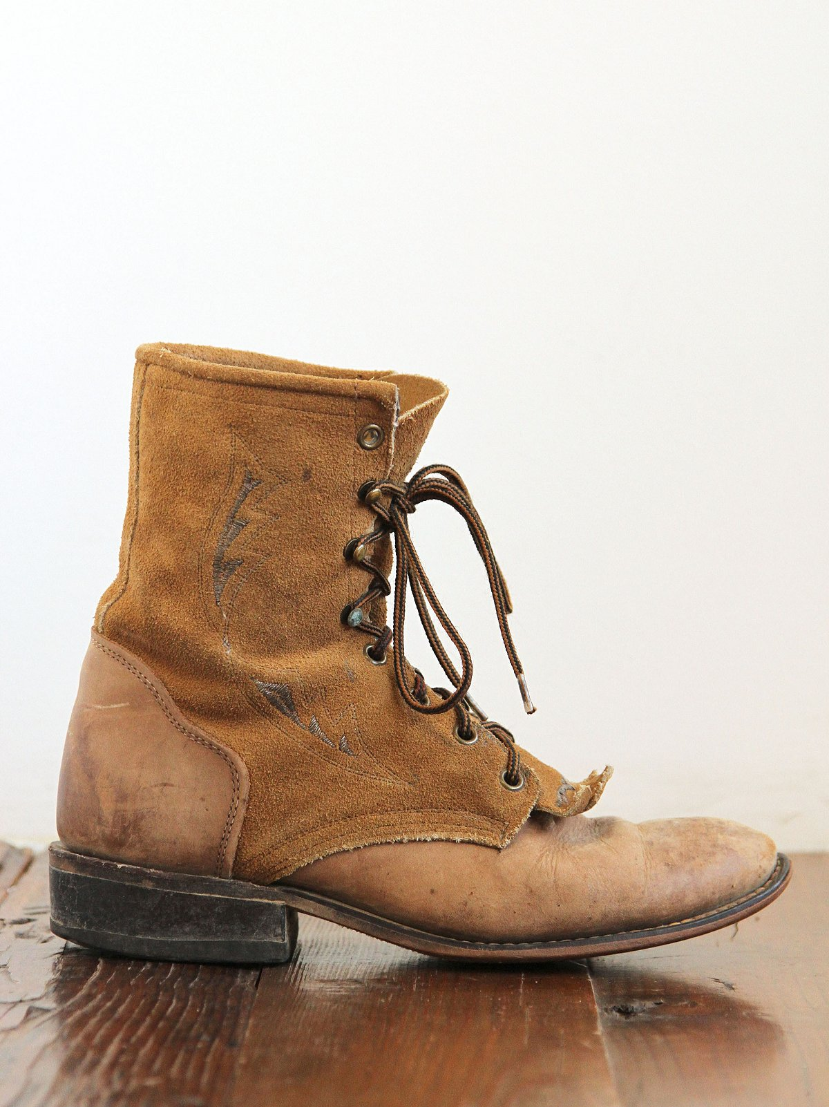 Vintage Distressed Leather Ankle Boots