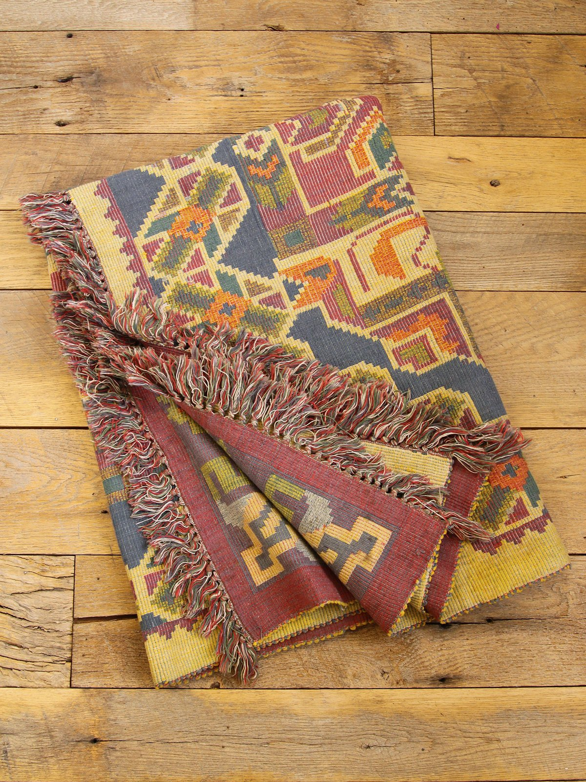 Vintage Colorful Woven Blanket