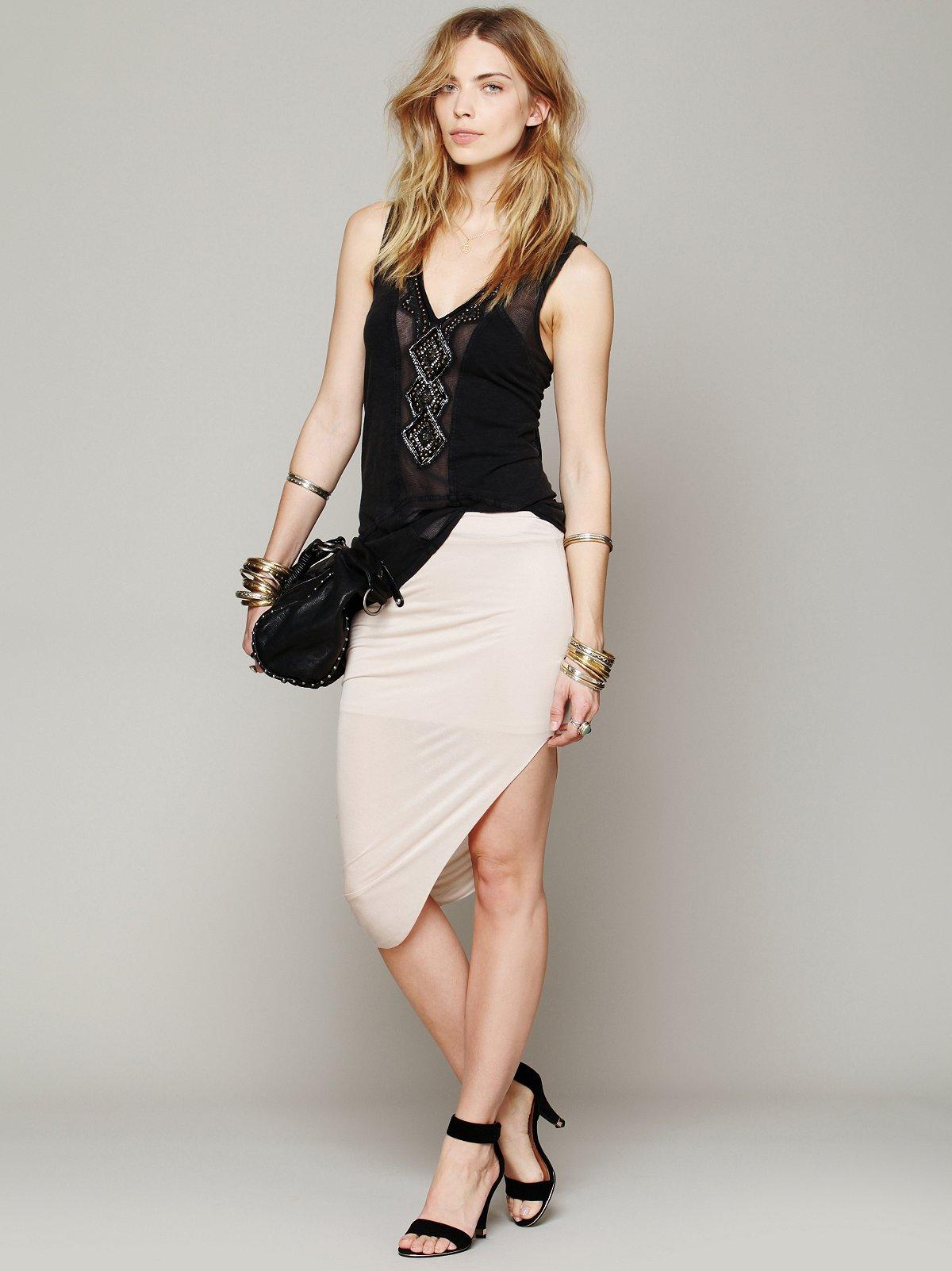 Jersey Asymmetrical Drape Skirt