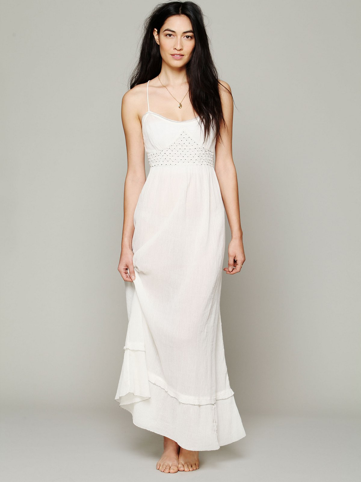 Smocked Gauze Sleep Dress