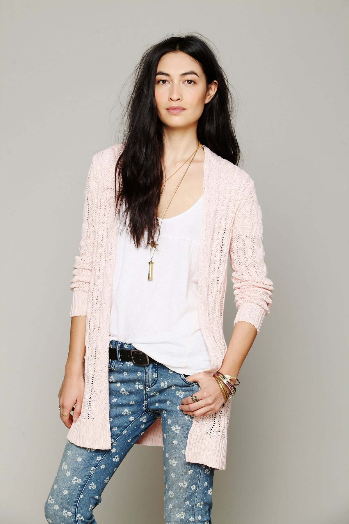 Long Cable Cardigan