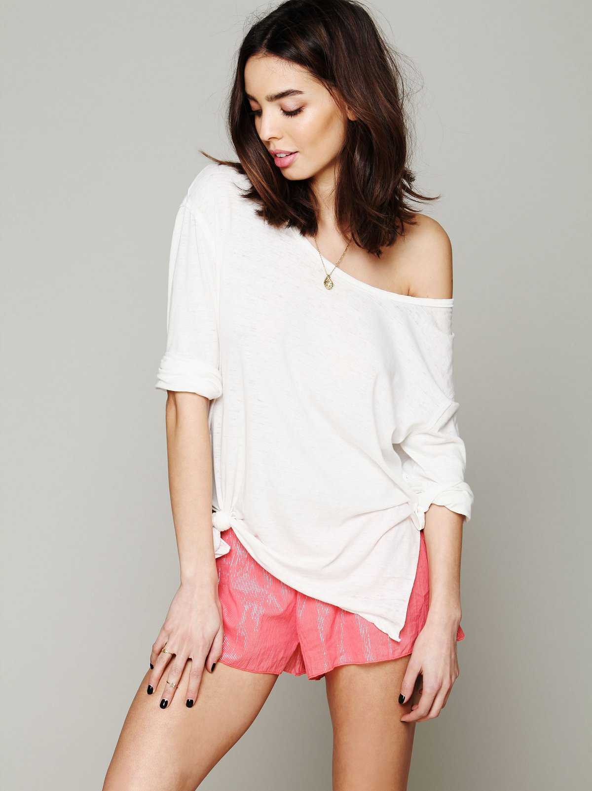 Lurex Stripe Hipster Shorts