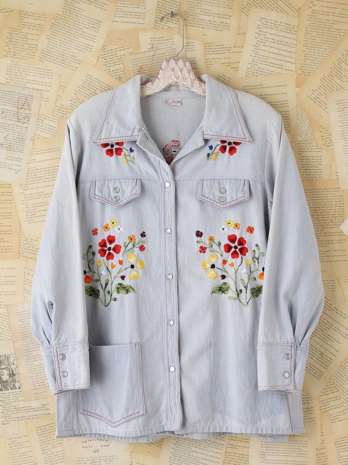Vintage Floral Embroidered Denim Shirt