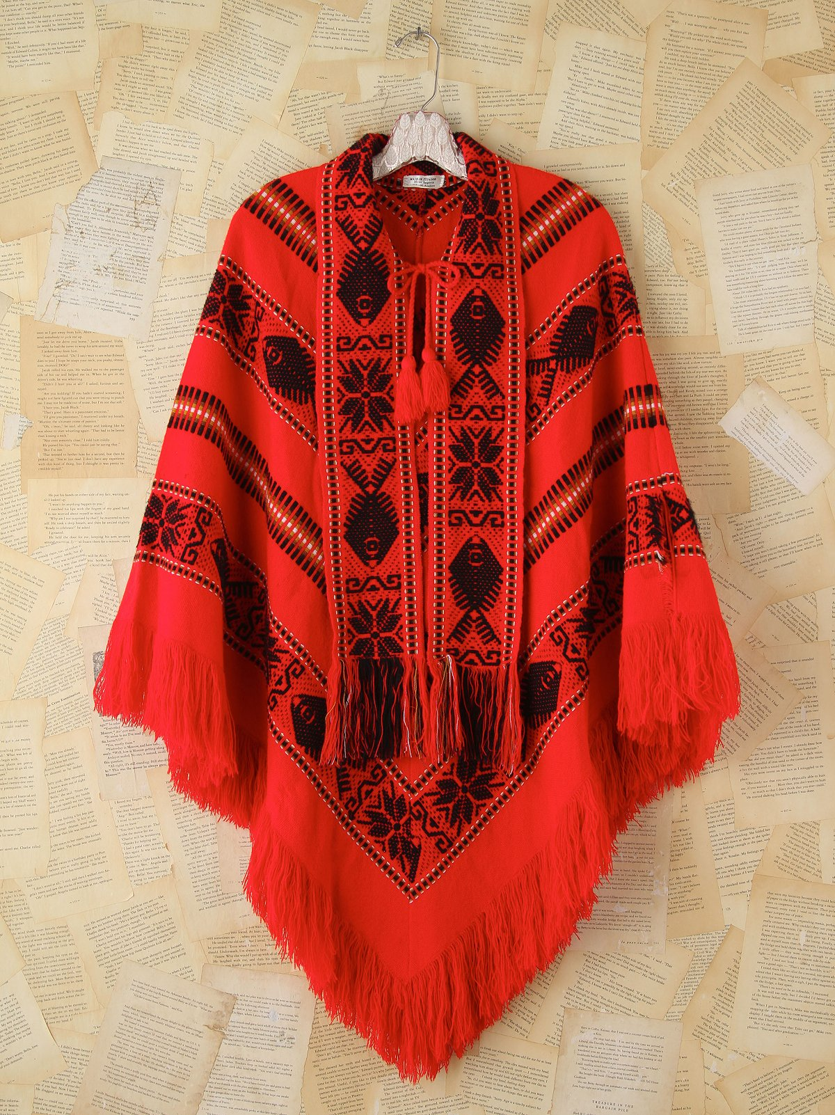Vintage Embroidered Woven Poncho