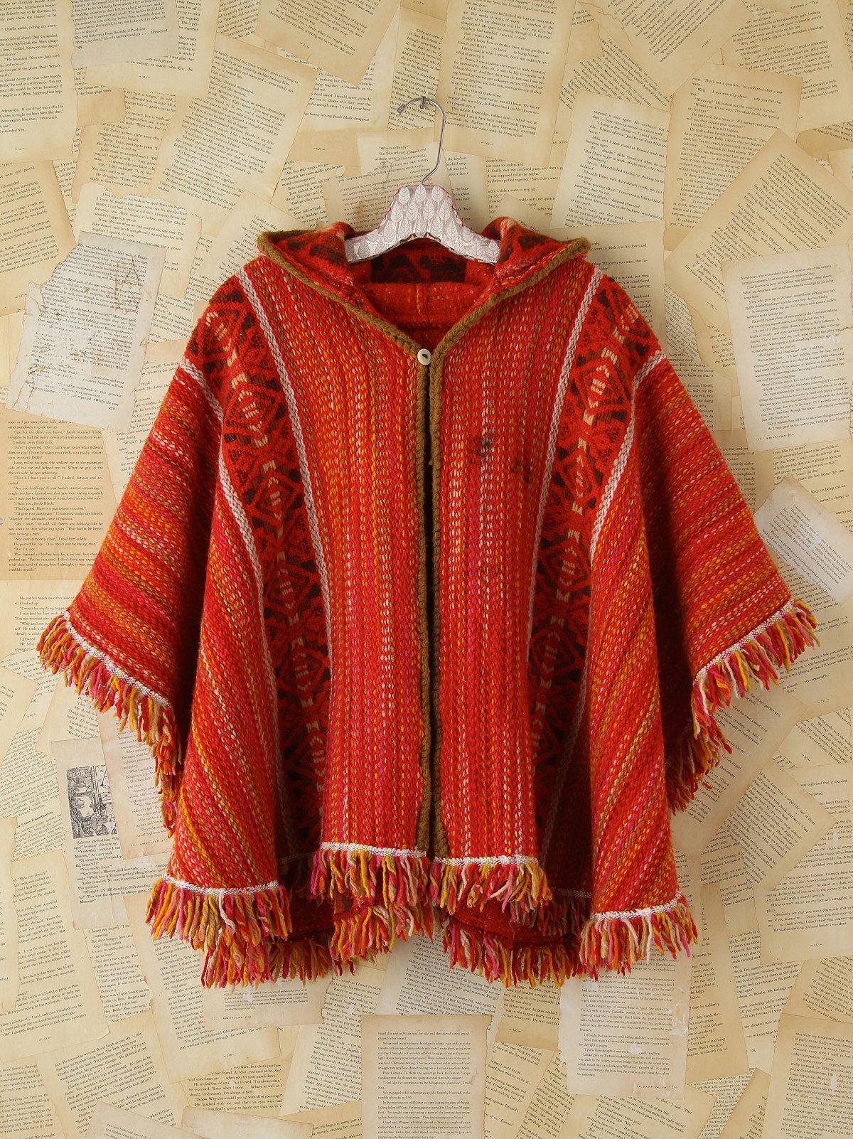 Vintage Orange Woven Fringed Poncho