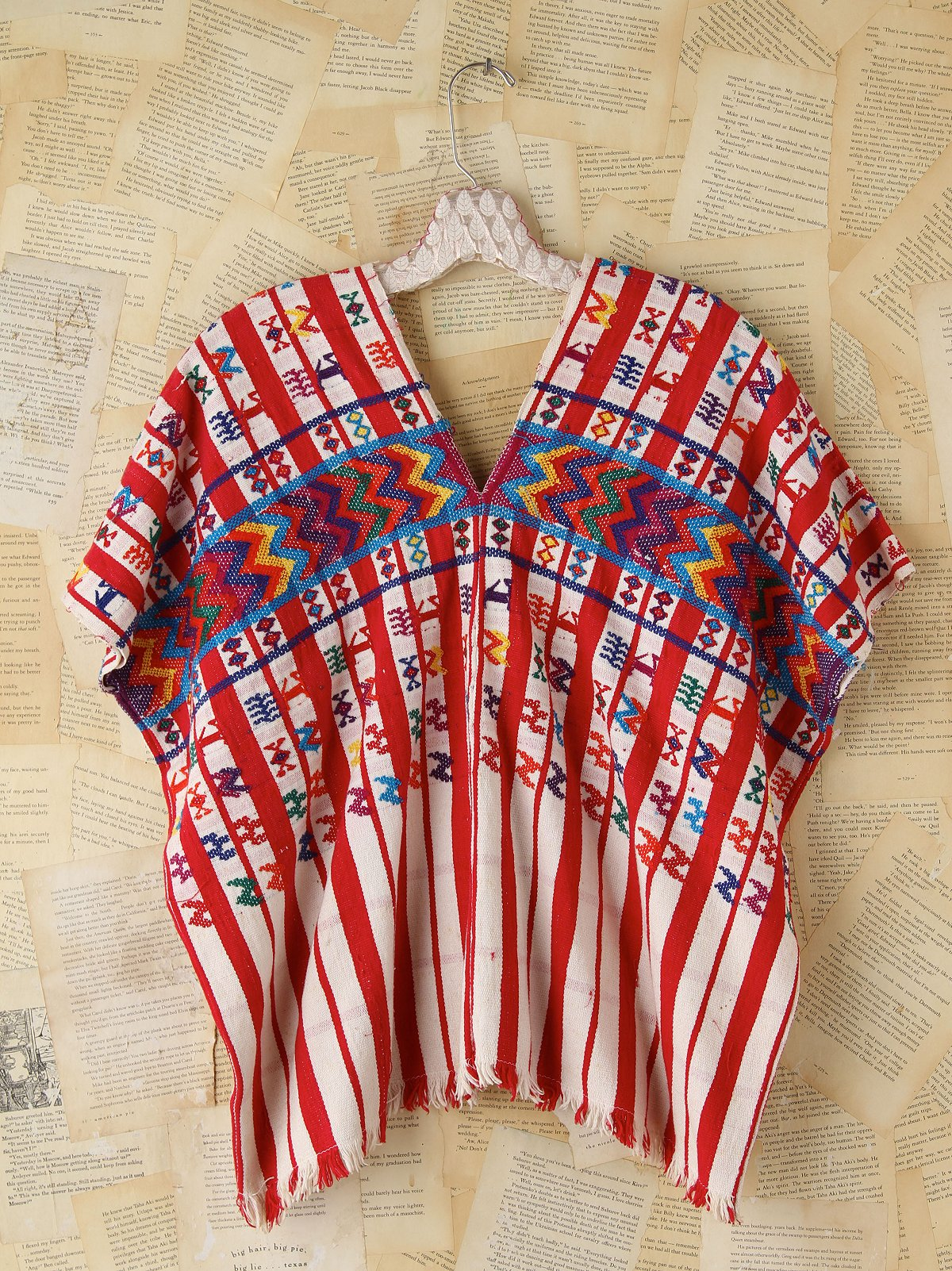 Vintage Embrodiered Woven Poncho