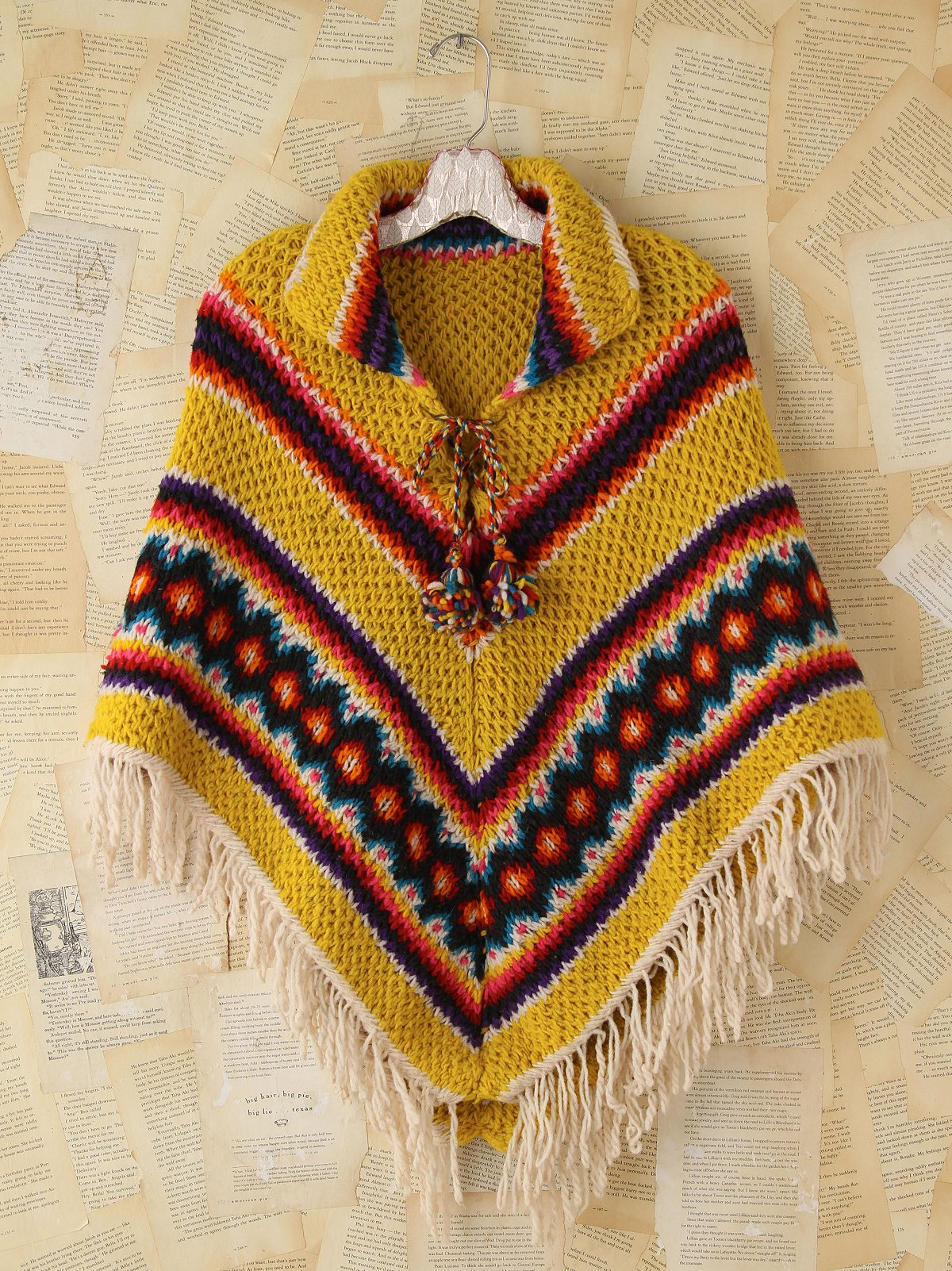 Vintage Colorful Crochet Fringed Poncho