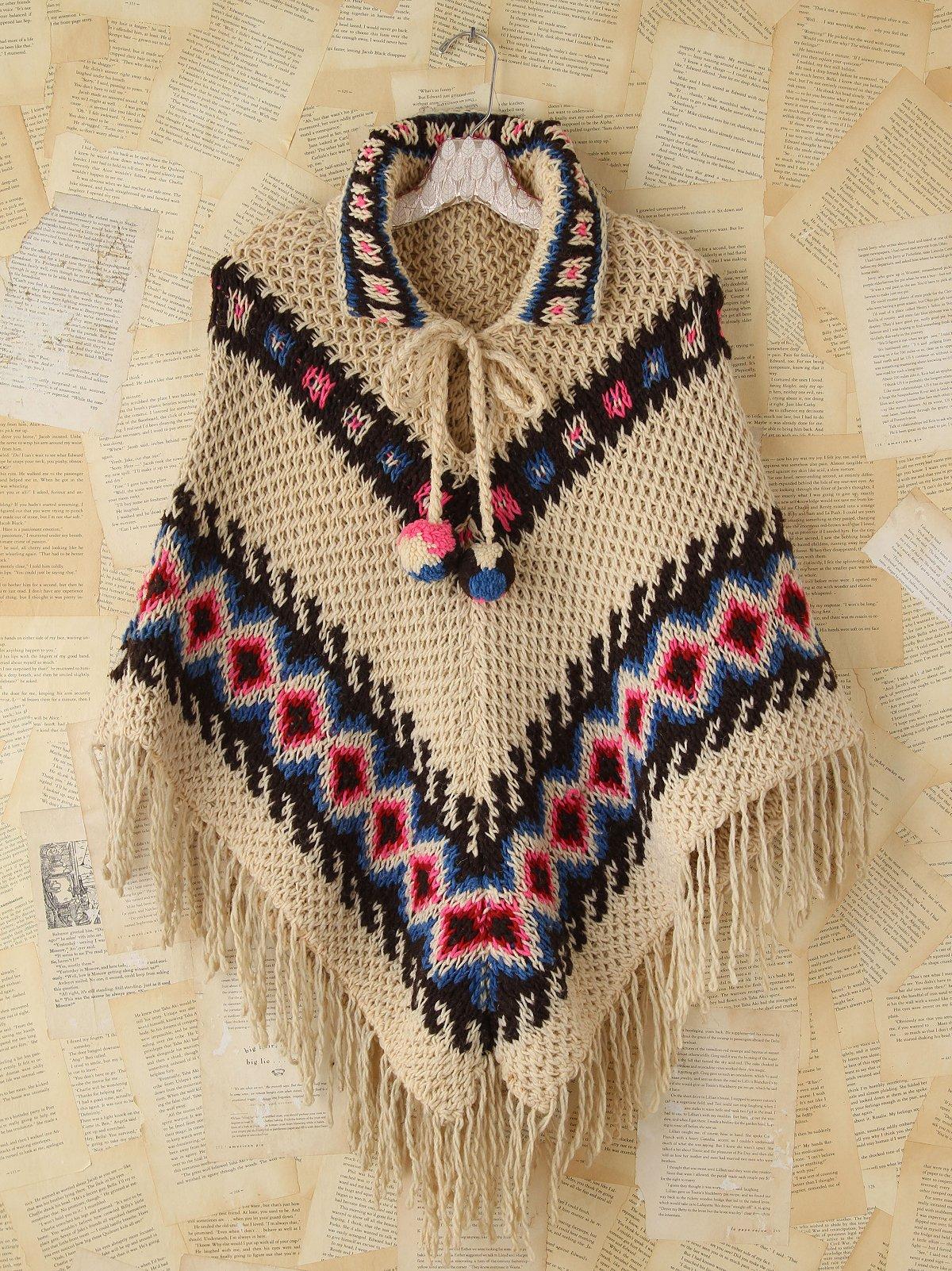 Vintage Patterned Knit Poncho