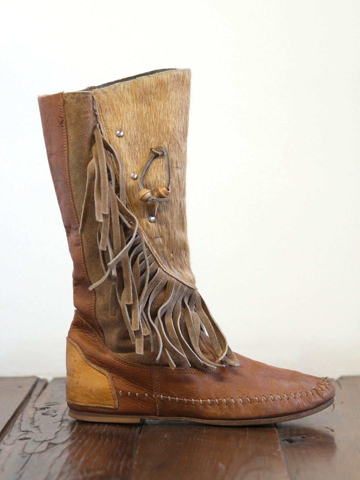 Vintage Fur Trimmed Mocassin Boots