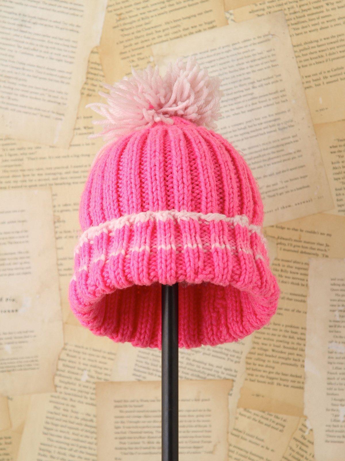 Vintage Pink Knitted Pom Hat