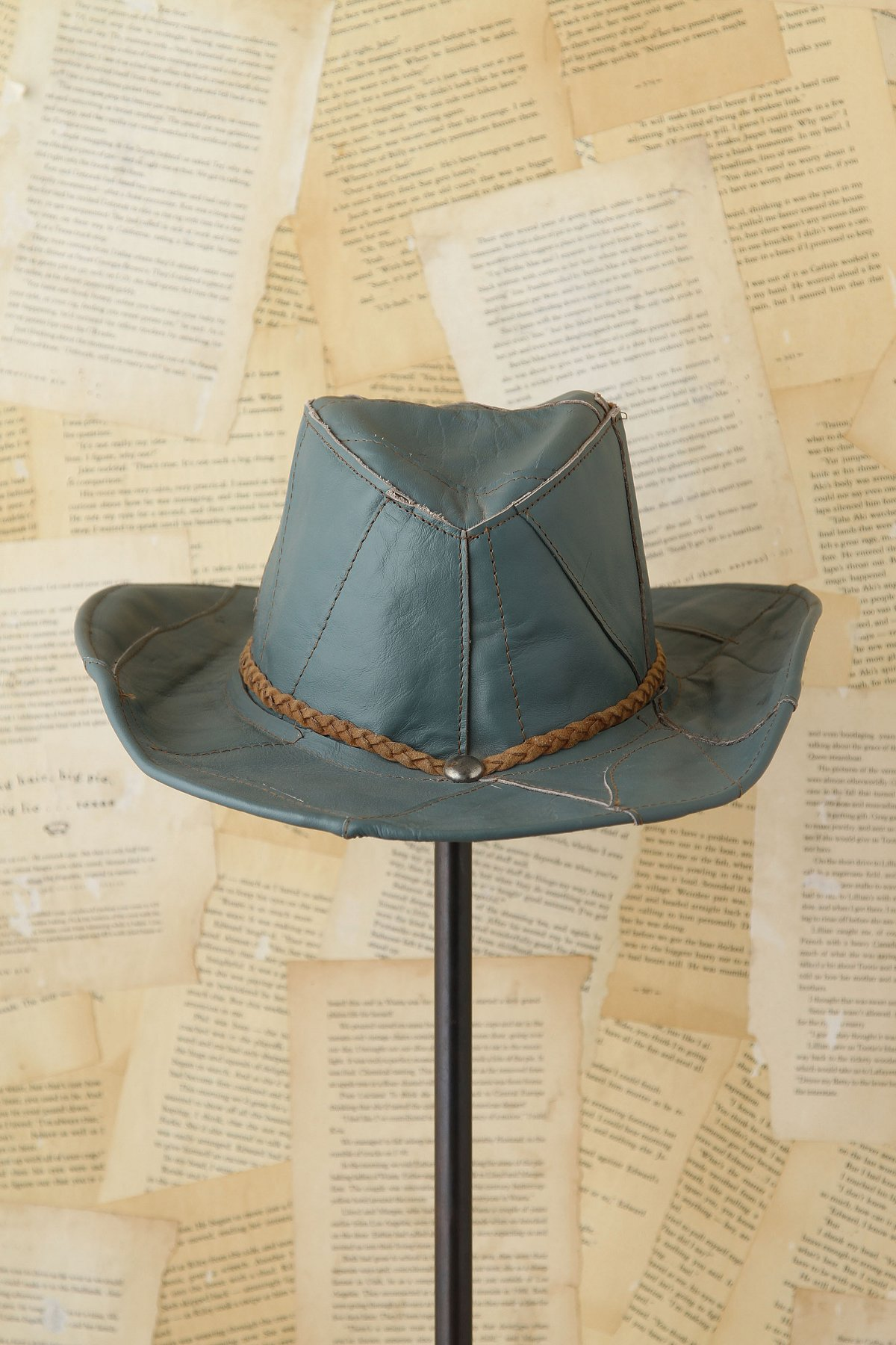 Vintage Blue Leather Fedora