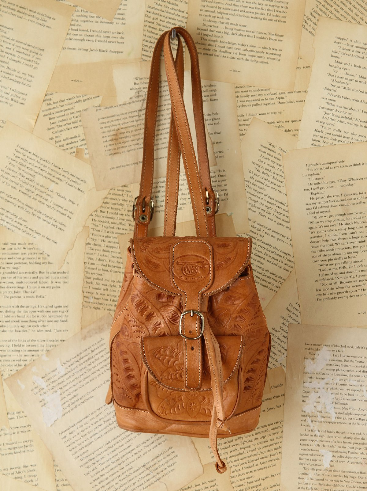 Vintage Embossed Leather Backpack