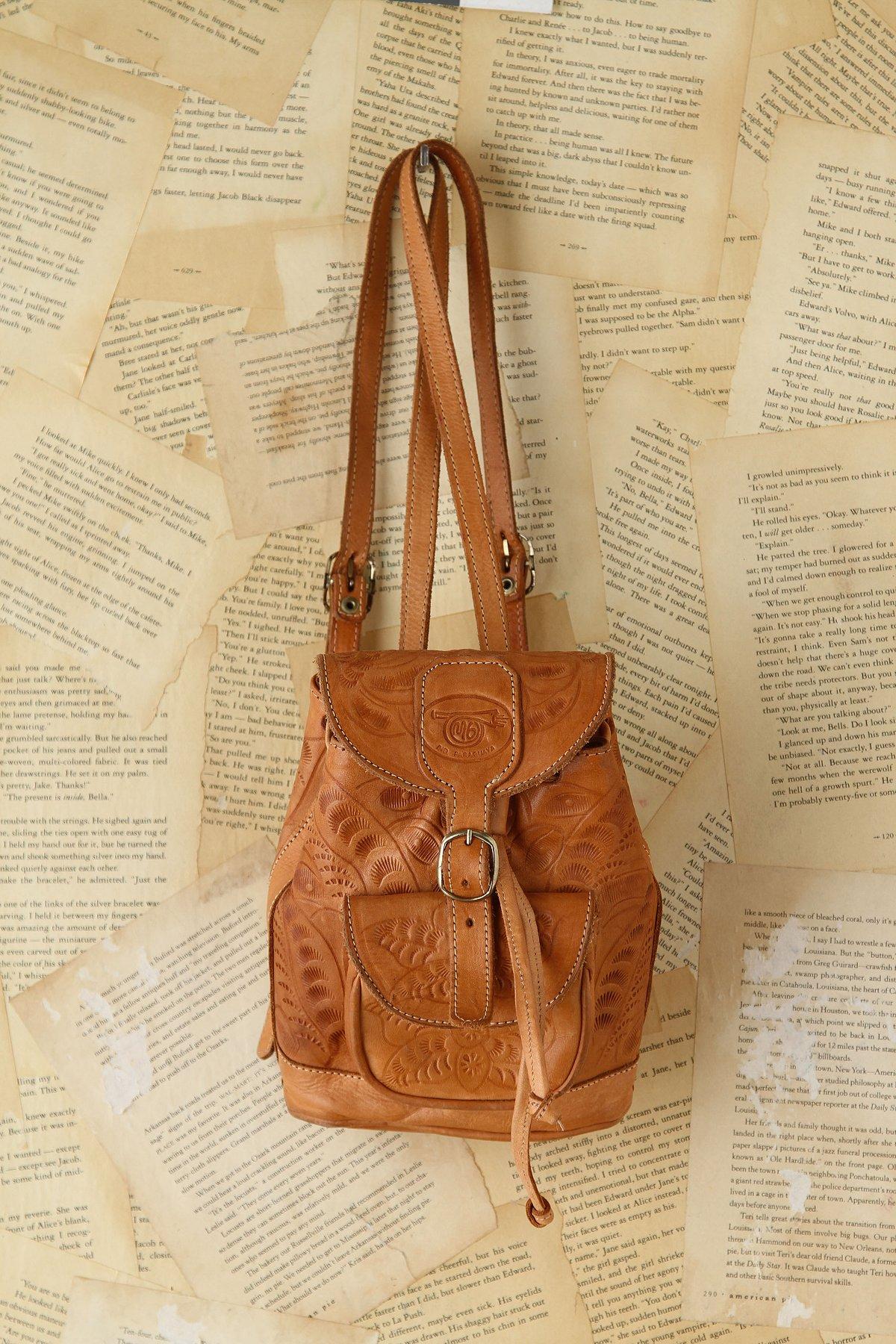 Vintage Embossed Leather Backpack