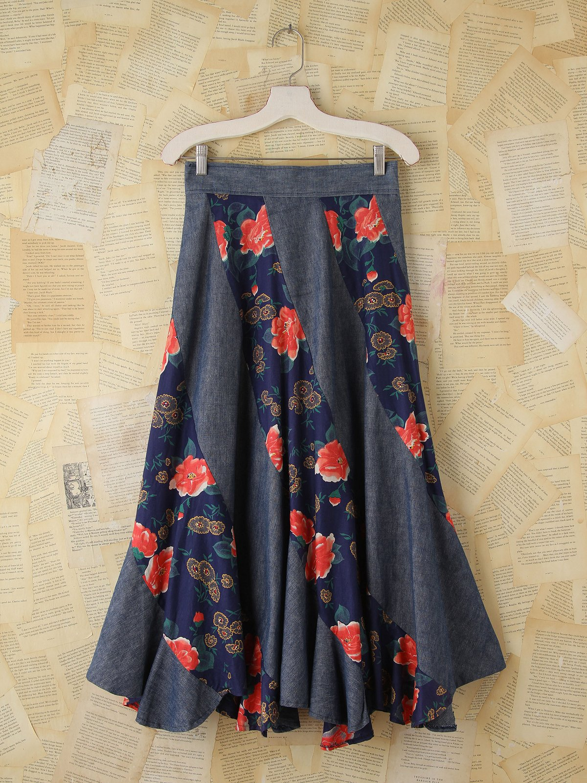 Vintage Floral and Denim Maxi Skirt