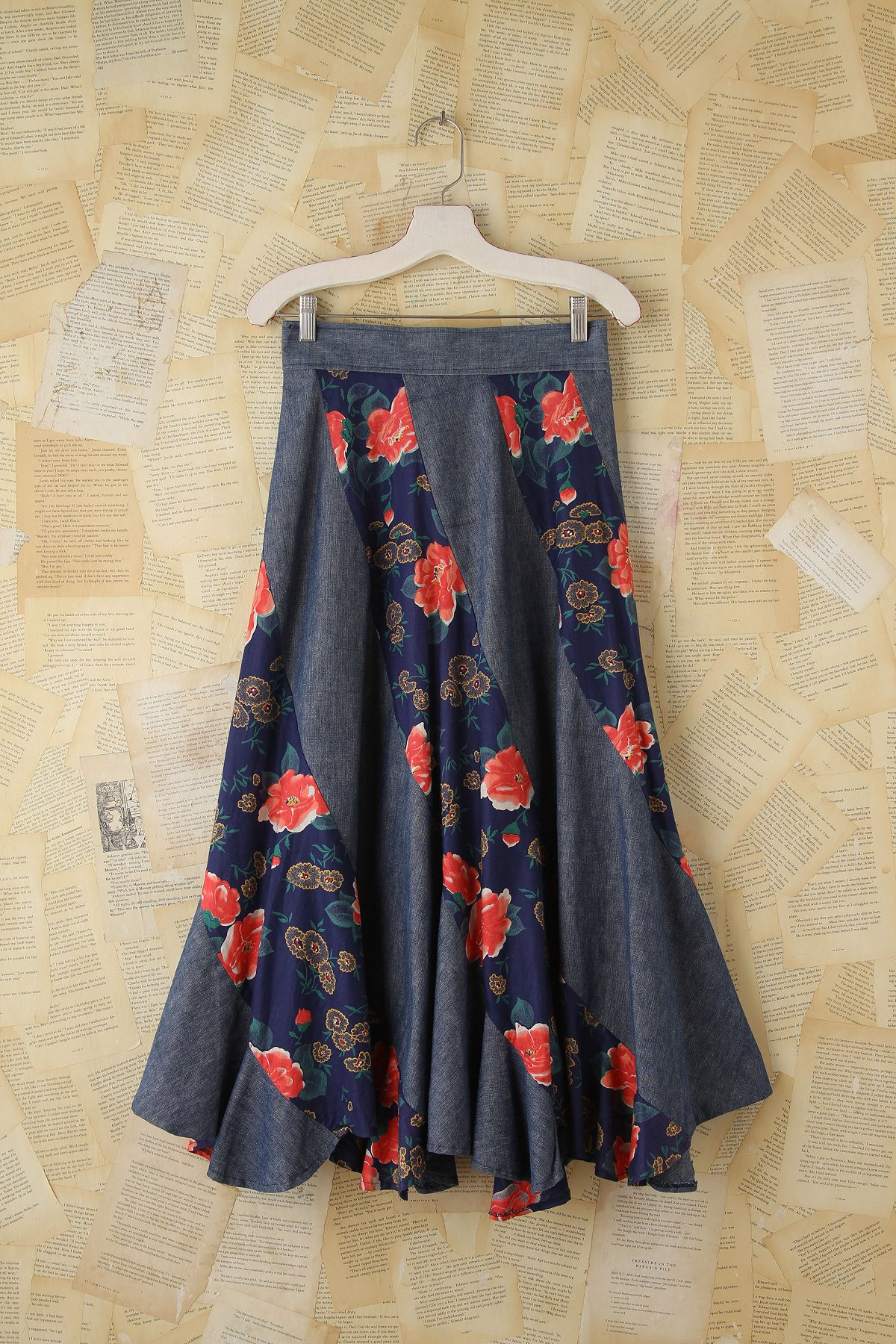 Vintage Floral and Denim Maxi Skirt