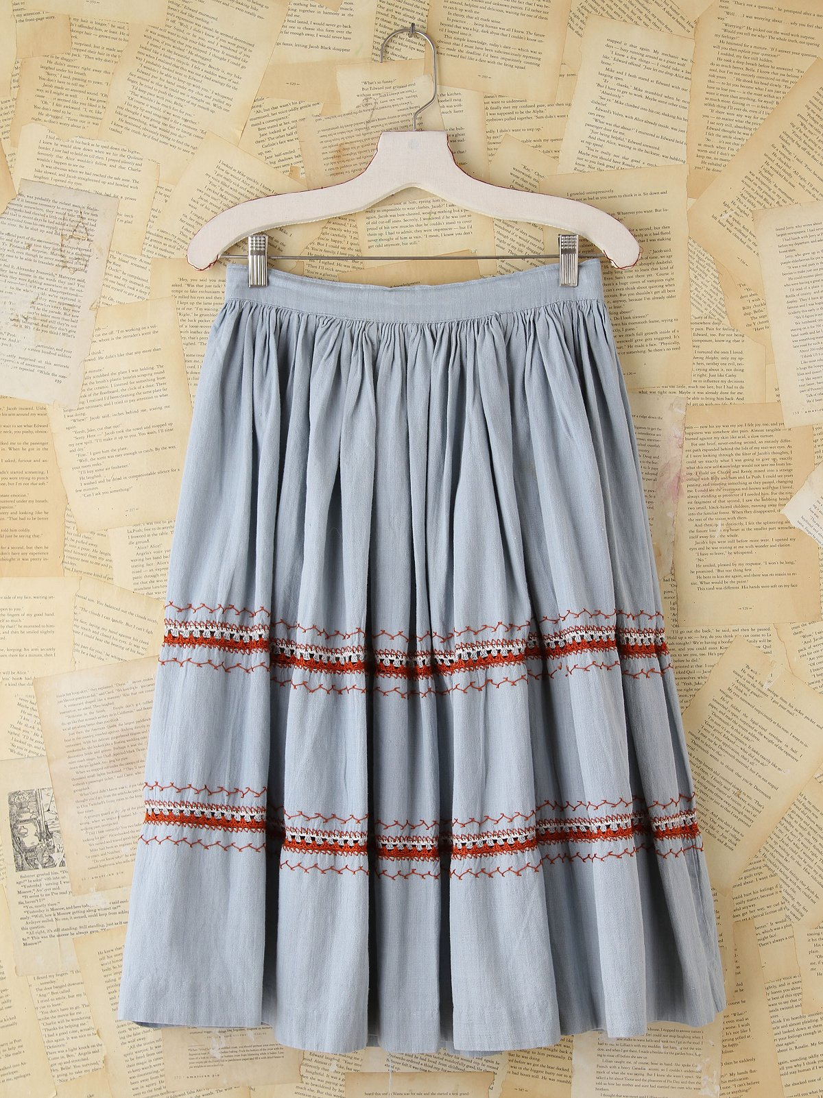 Vintage Embrodiered Chambray Skirt