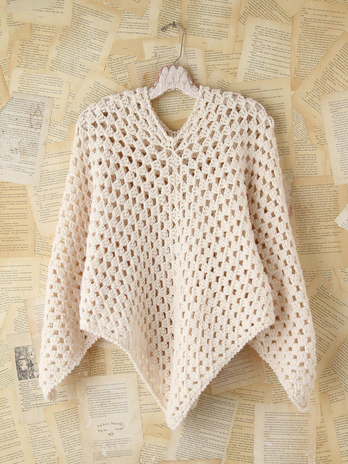 Vintage Wool Crochet Poncho