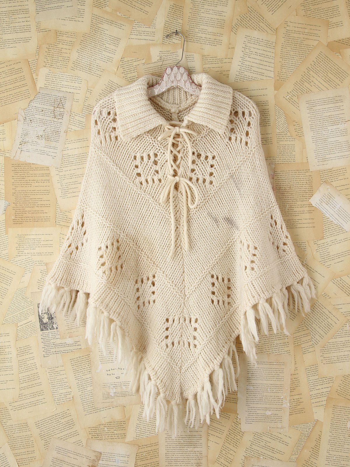 Vintage Collared Knit Poncho