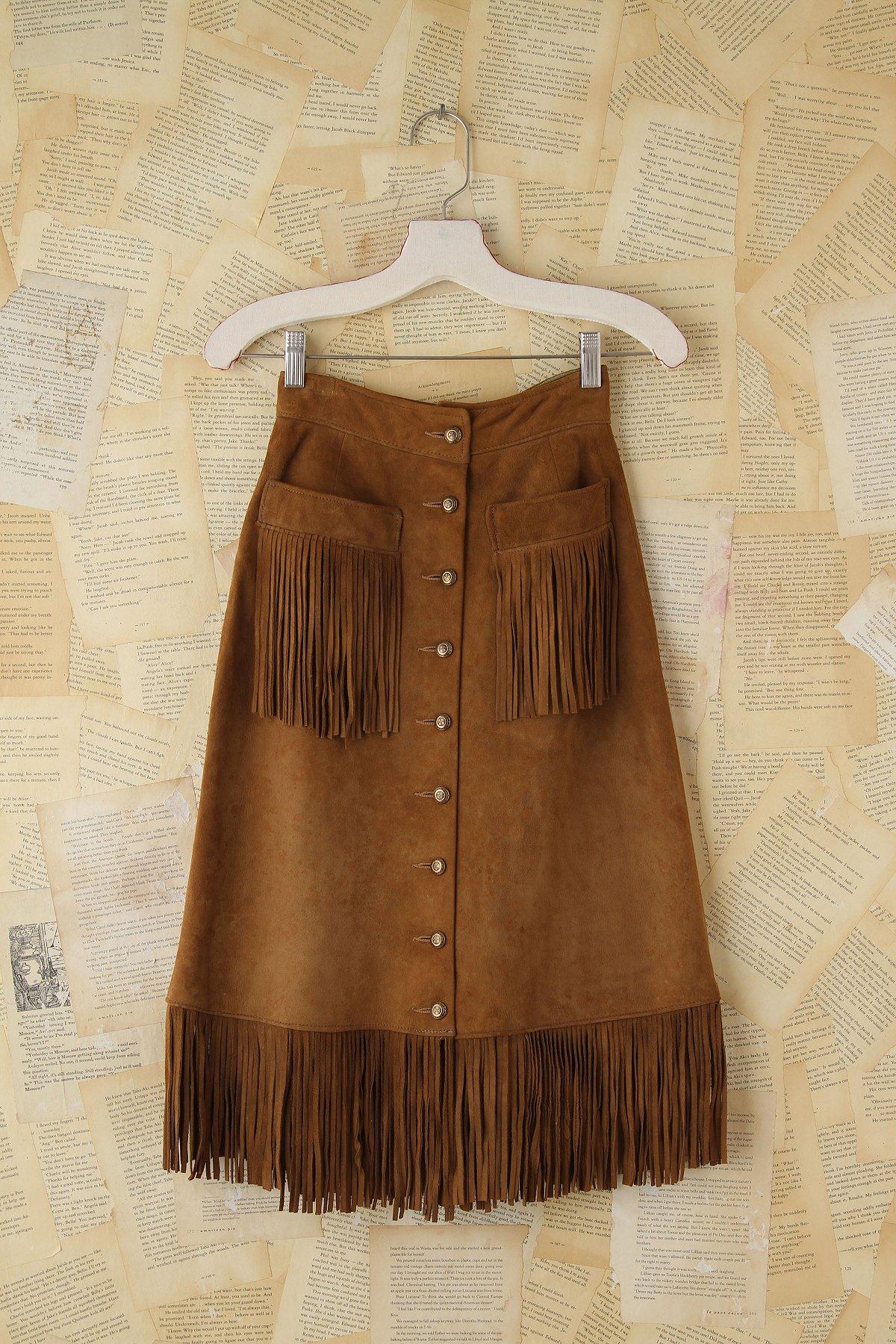 Vintage Suede Fringe Trimmed Skirt