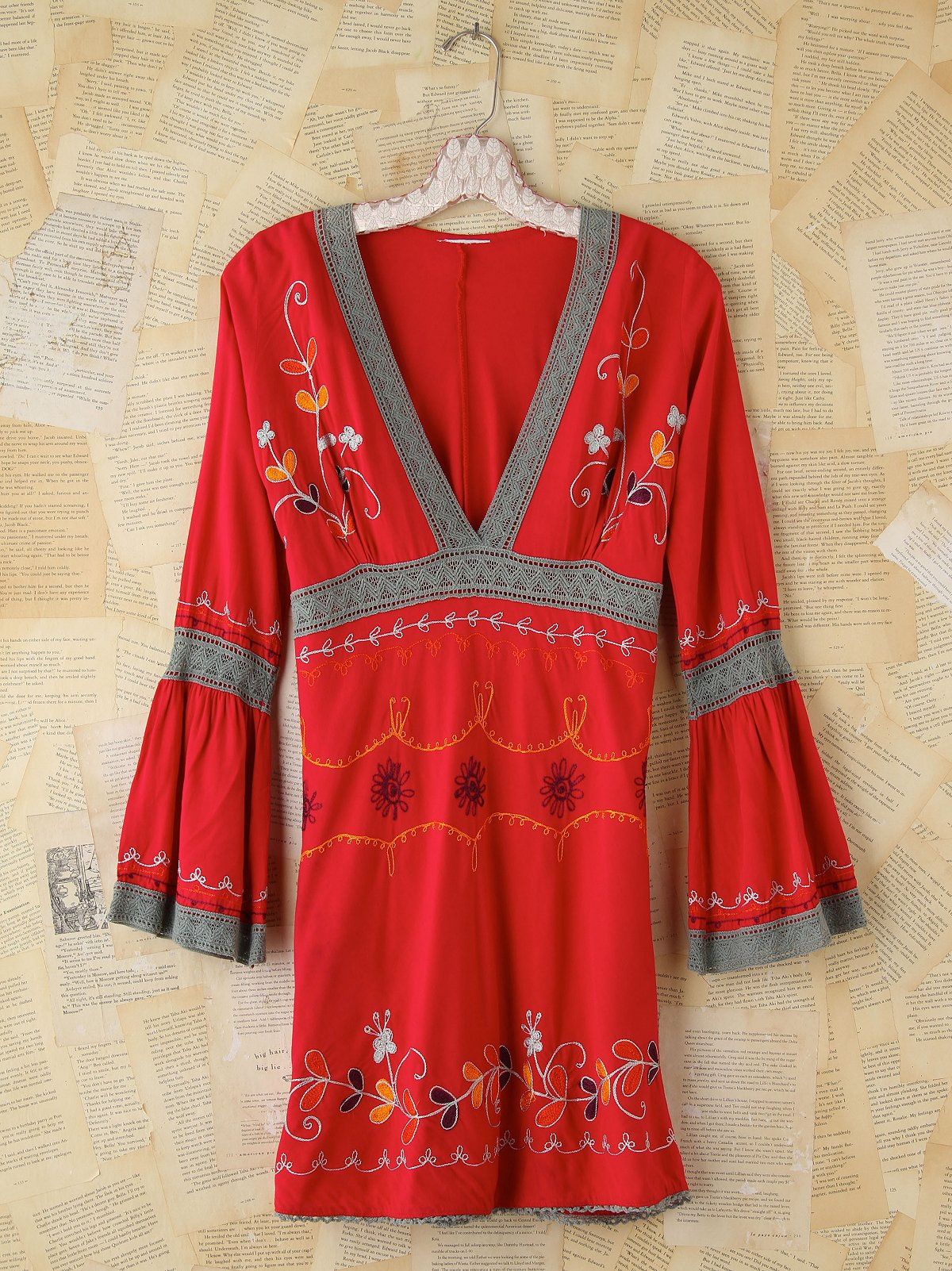 Vintage Embroidered Red Dress