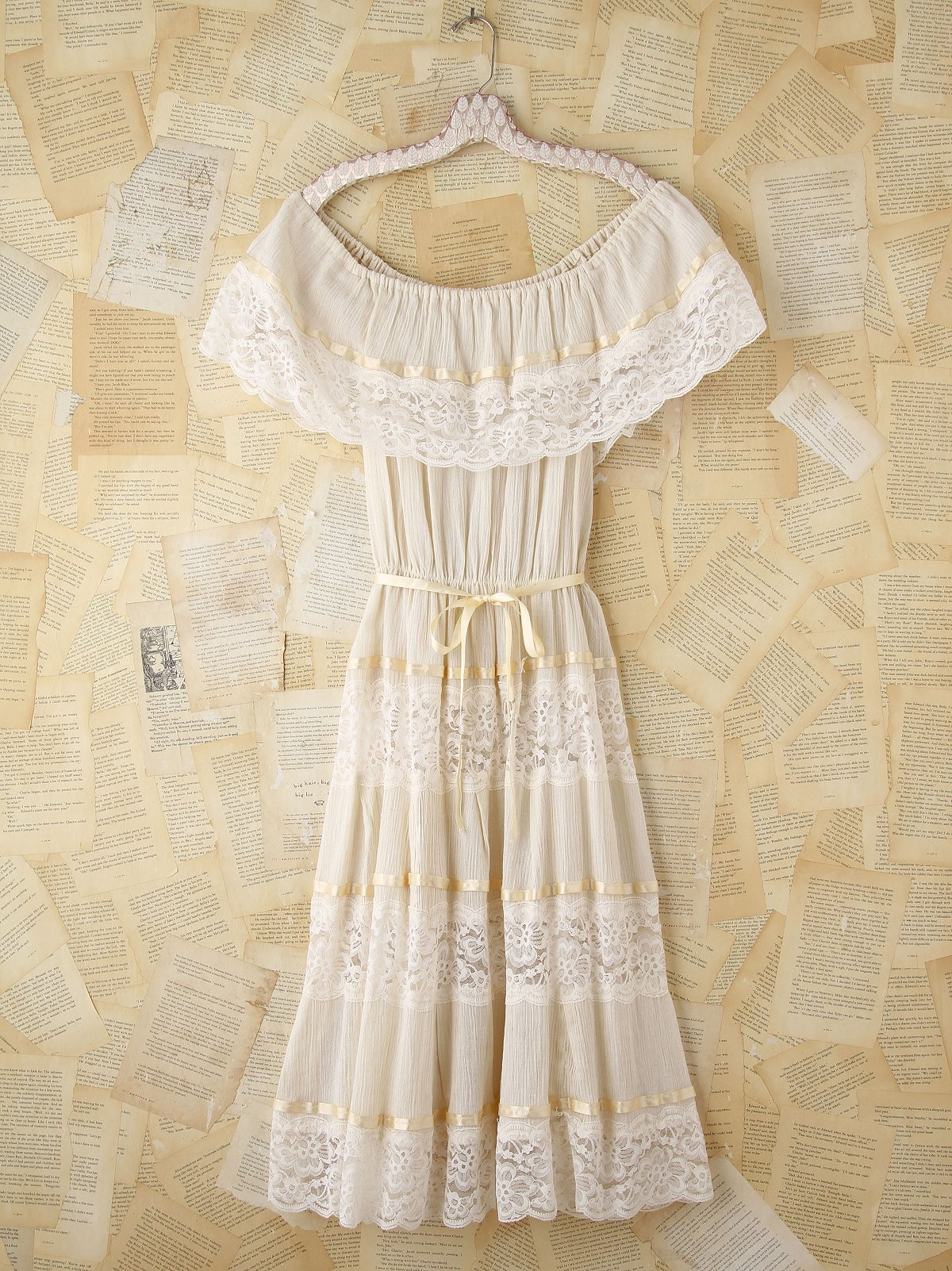 Vintage Gauzy Creme Maxi Dress