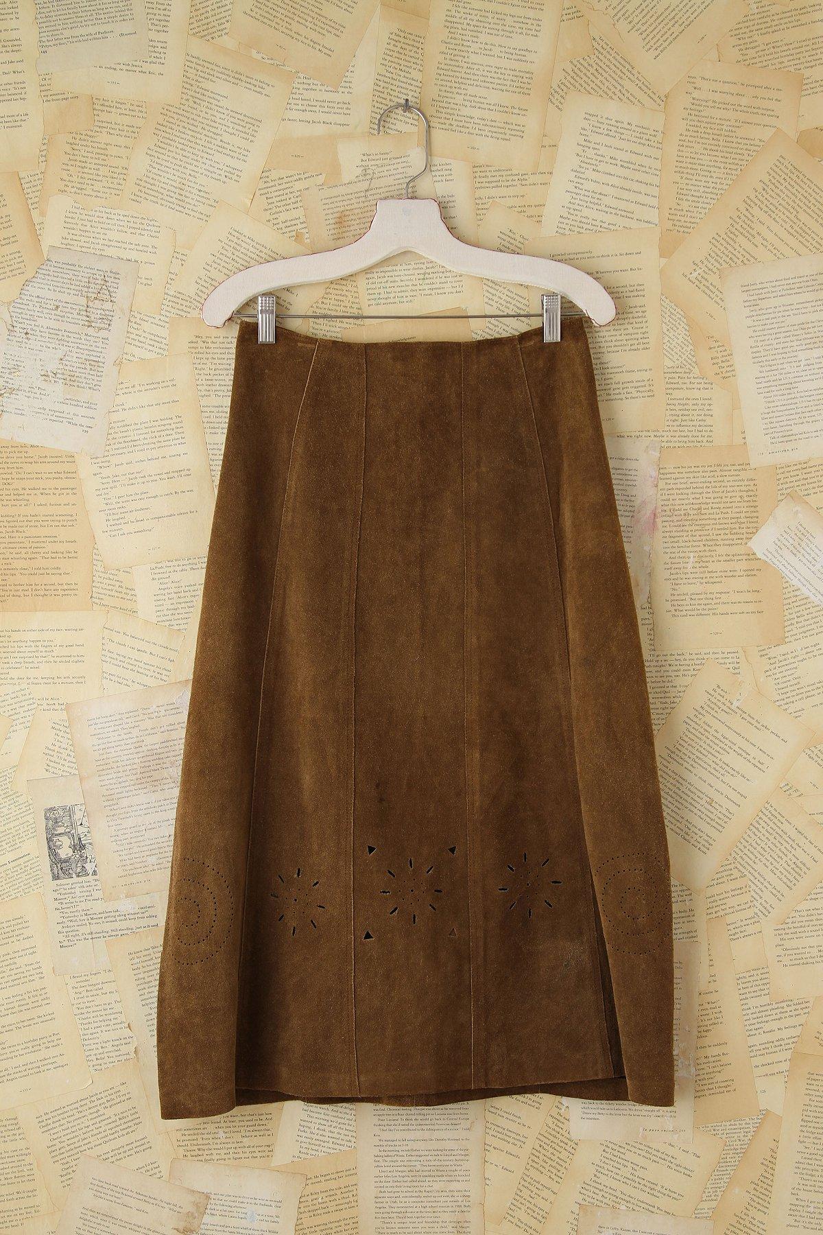 Vintage Suede Cutout Skirt