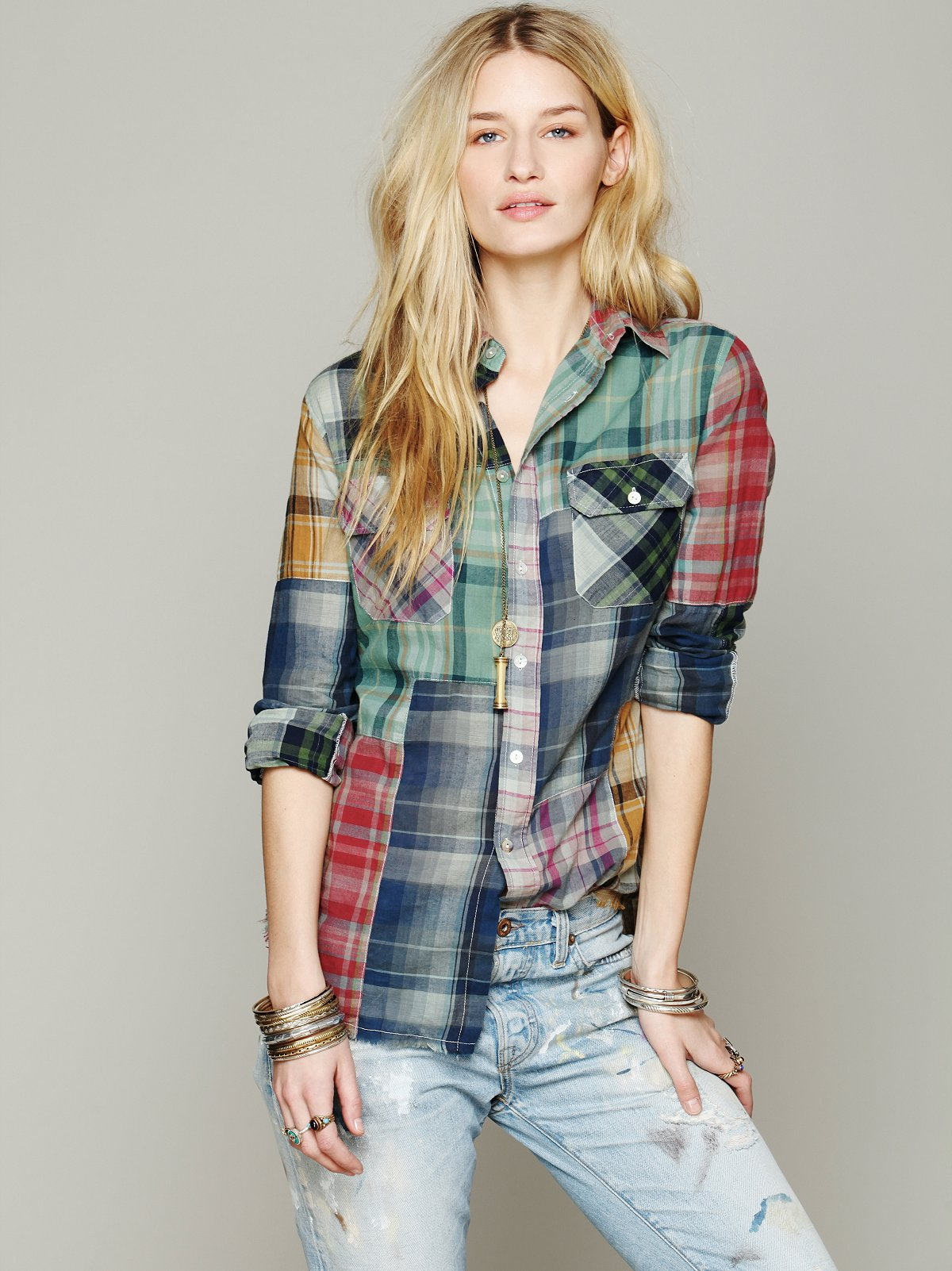 Hi Low Patched Plaid Shirt