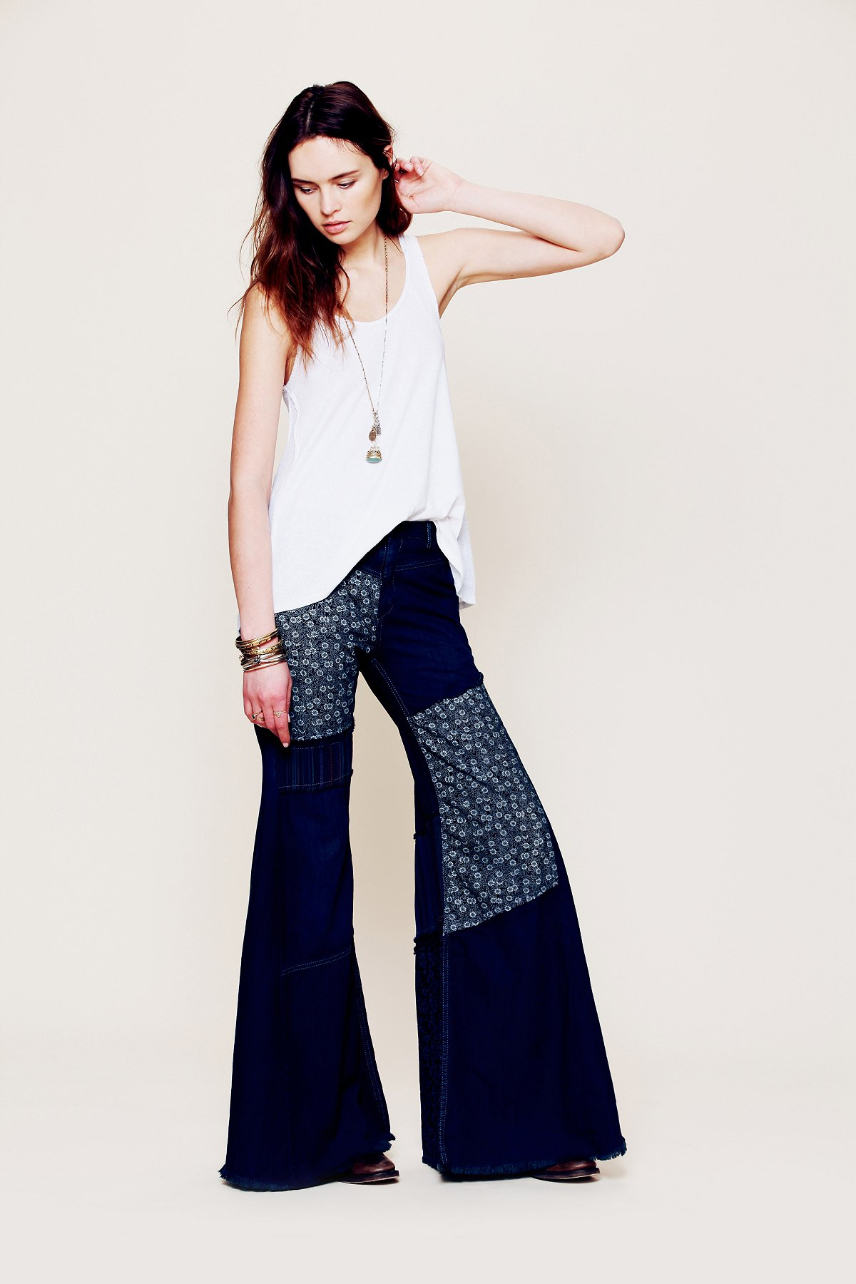 Cascade Patched Wideleg Jeans