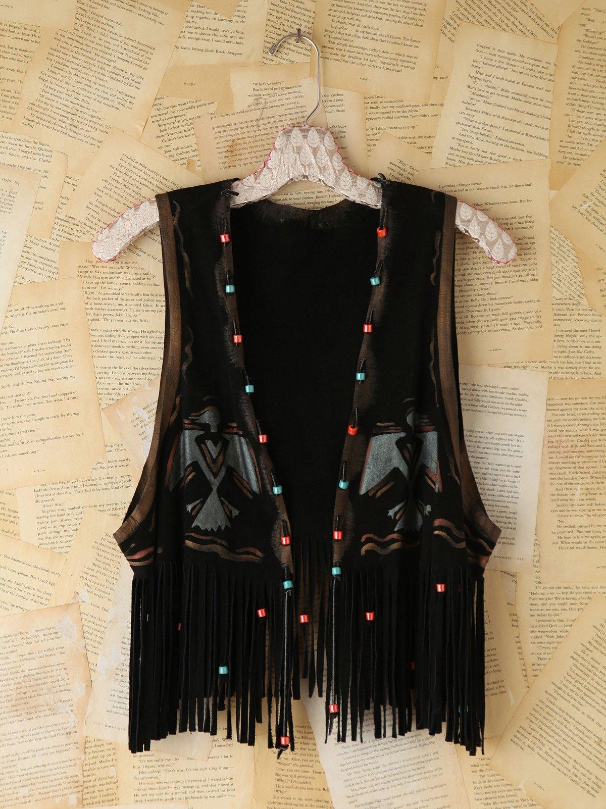 Vintage Painted Black Suede Vest