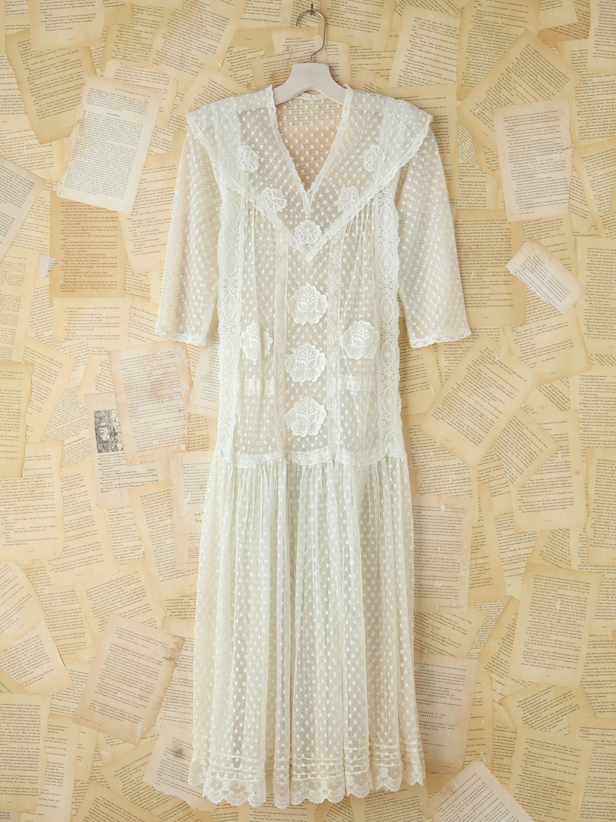 Vintage Sheer Dotted Mesh Dress