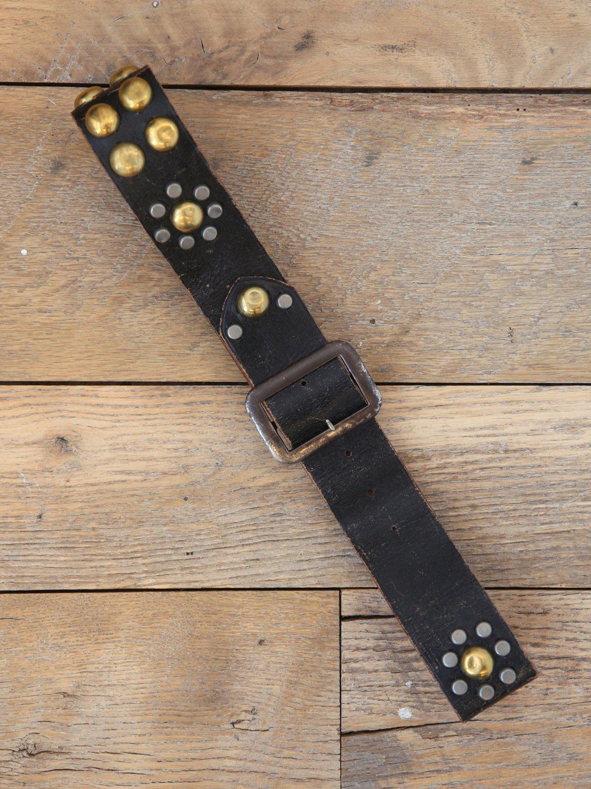 Vintage Distressed Leather Studded Belt