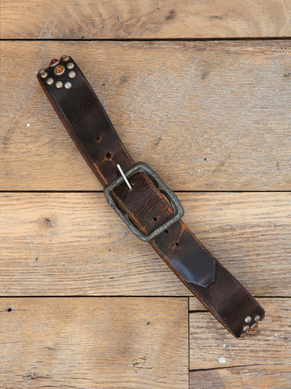 Vintage Studded Distressed Leather Belt