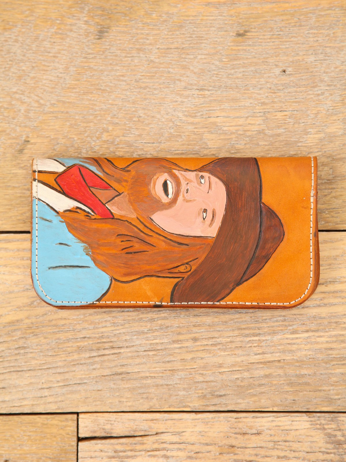 Vintage Hand-Painted Leather Wallet