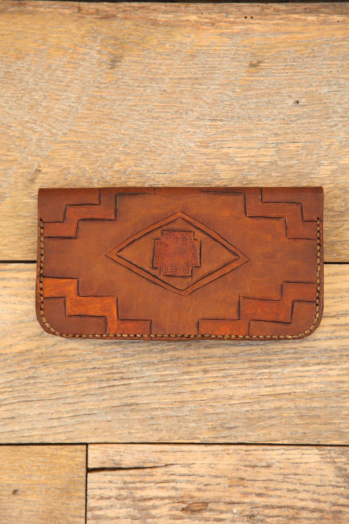 Vintage Hand-Carved Leather Wallet