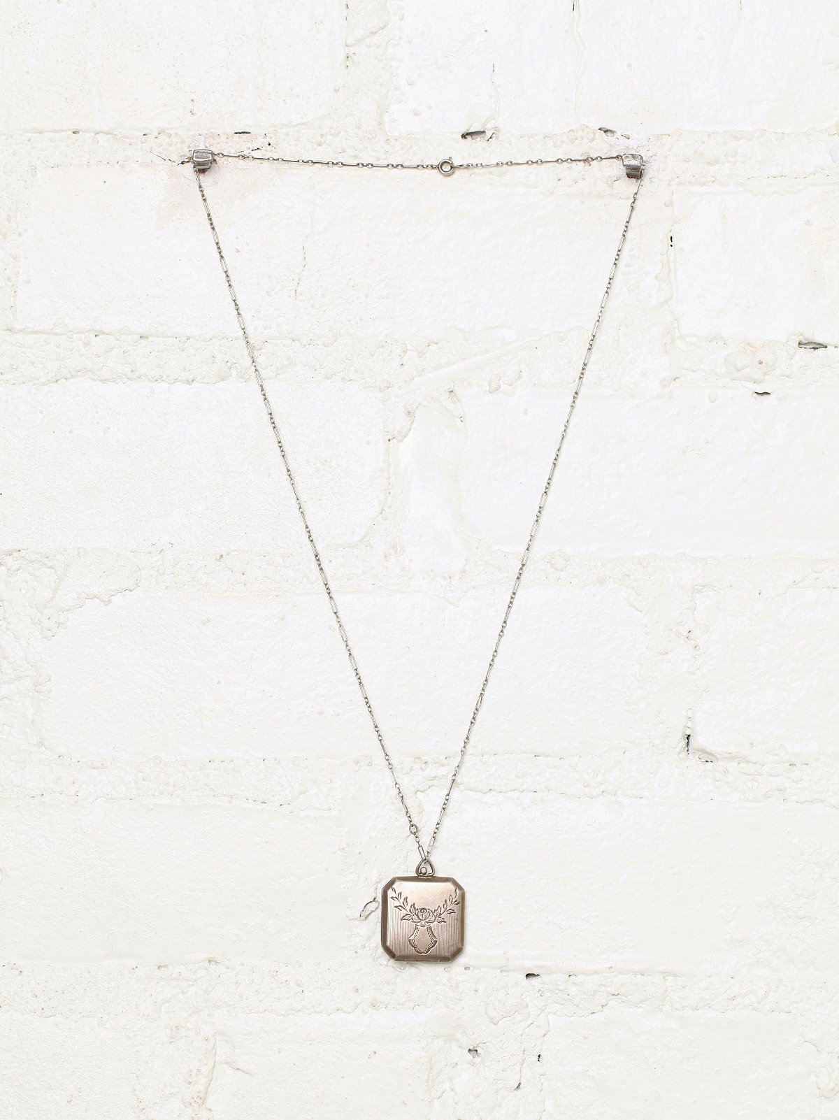 Vintage Metal Hexagon Locket Necklace
