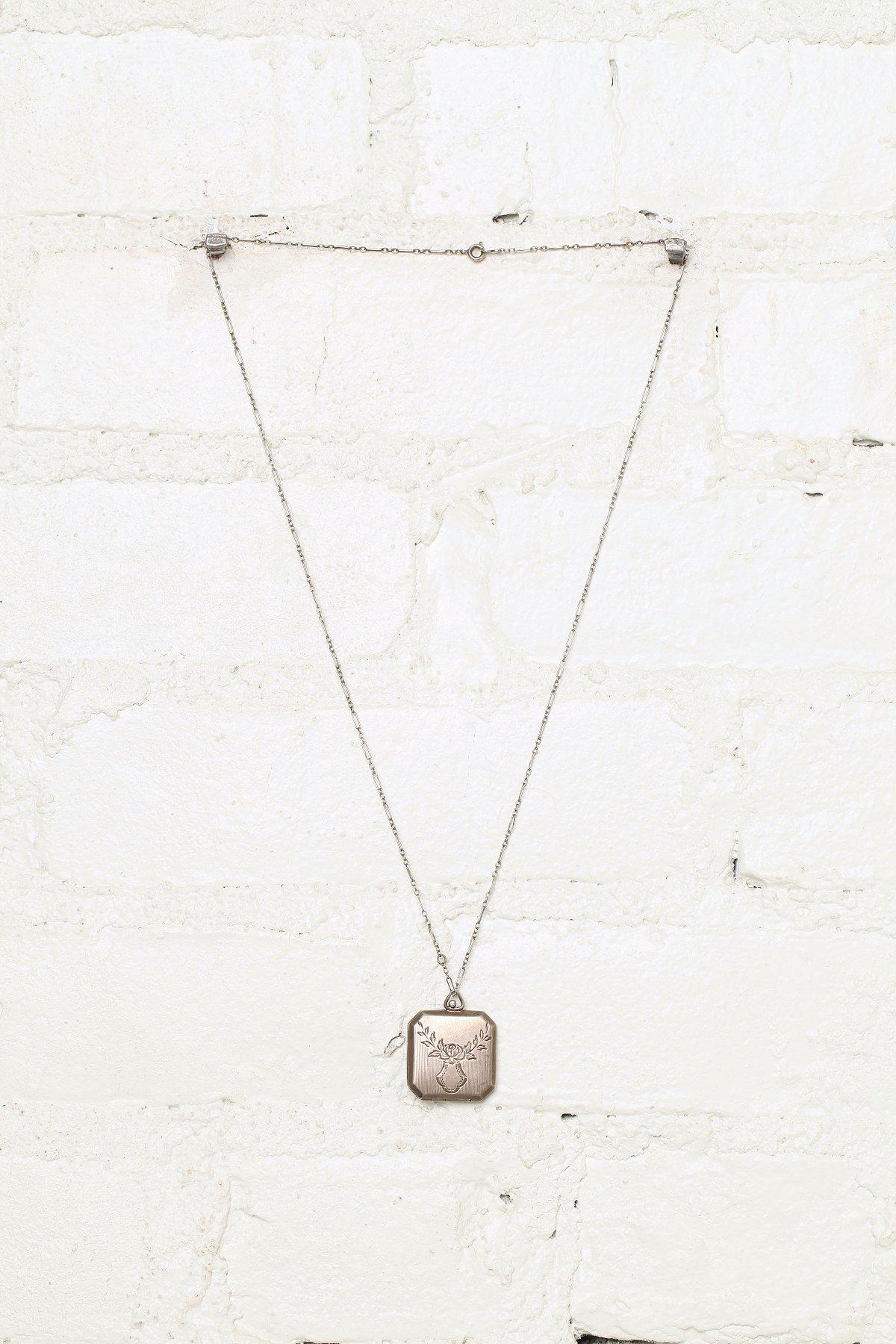 Vintage Metal Hexagon Locket Necklace