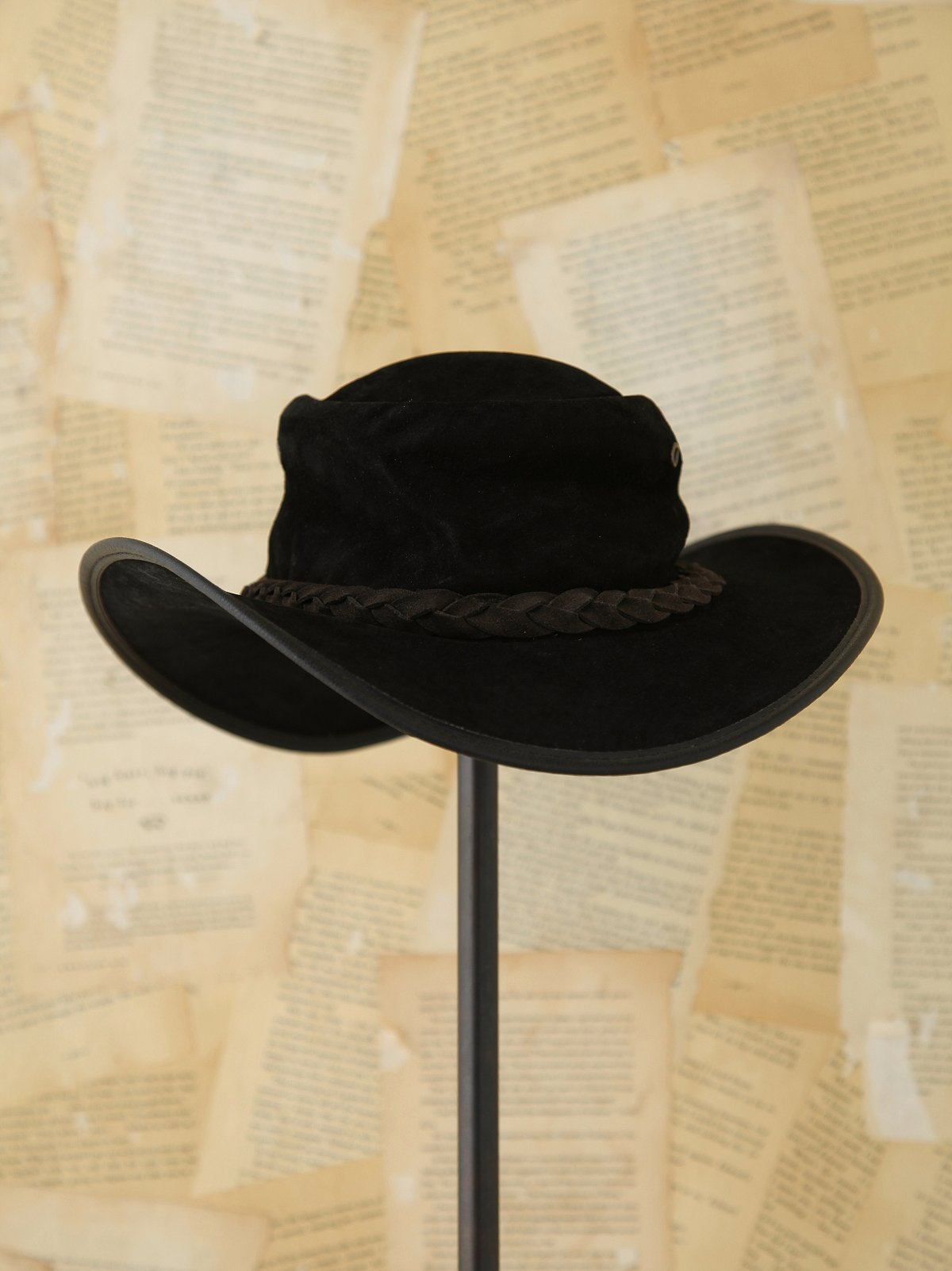 Vintage Black Suede Hat
