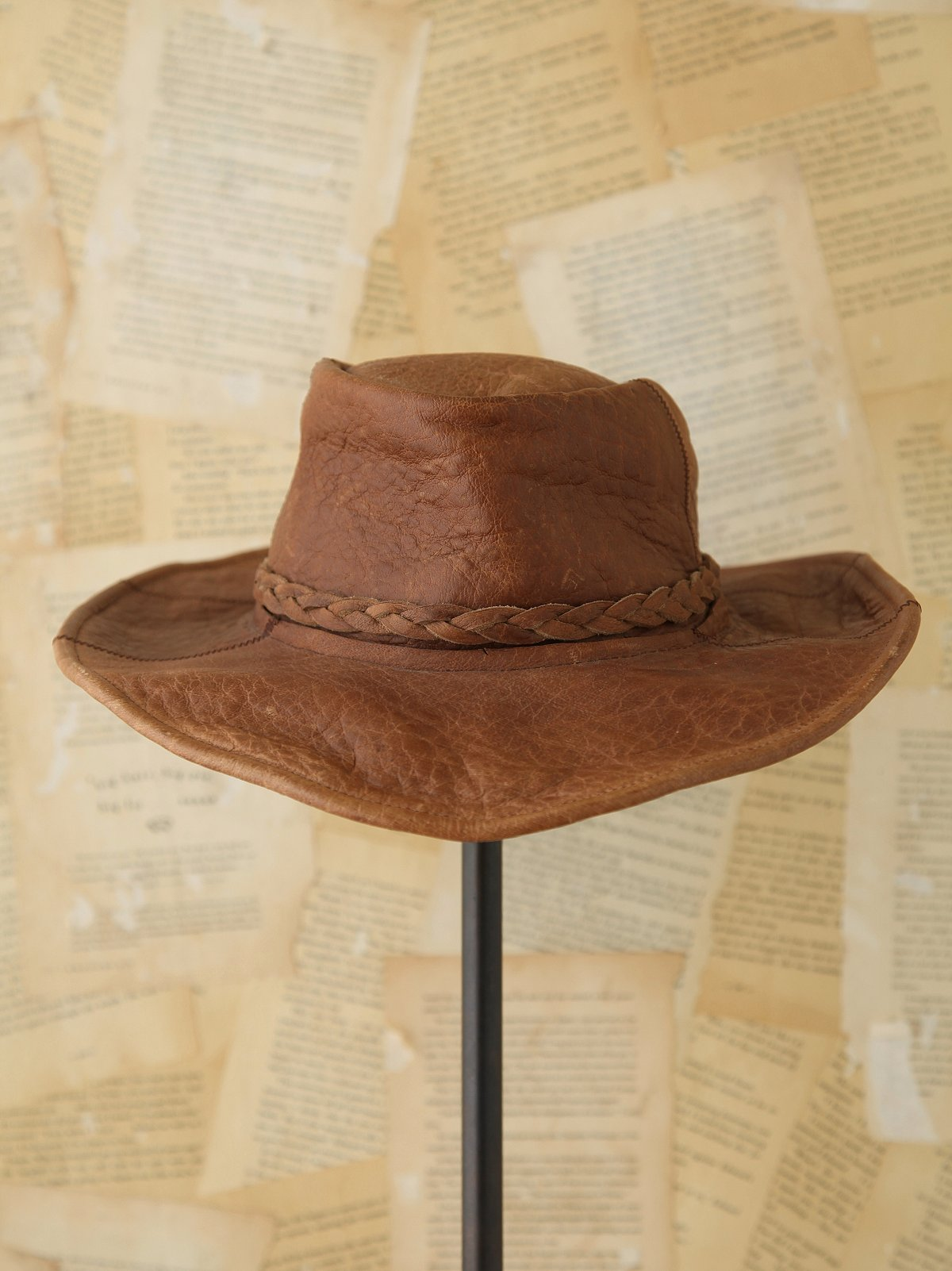 Vintage Distressed Leather Hat