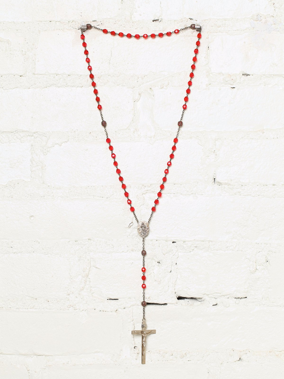 Vintage Red Beaded Rosary Necklace